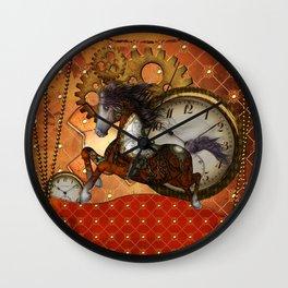 Steampunk, wonderful wild, red  steampunk horse Wall Clock