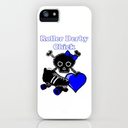 Roller Derby Chick (Blue) iPhone Case