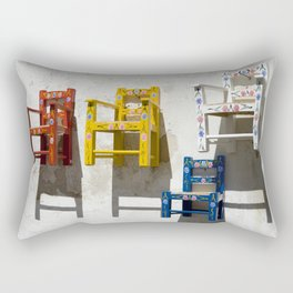 Painted children's chairs typical of the Alentejo, Portugal Rectangular Pillow