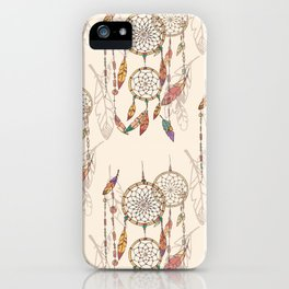 Bohemian dream catcher with beads and feathers iPhone Case