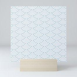 Pale Blue Japanese wave pattern Mini Art Print