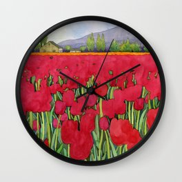 Spring tulips Wall Clock