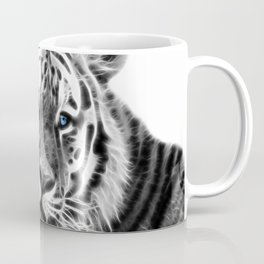 Black and white fractal tiger Coffee Mug