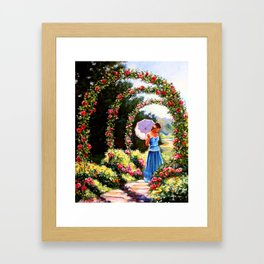 Alley of roses Framed Art Print