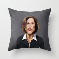 wes anderson Throw Pillows featuring Celebrity Sunday ~ Gillian Anderson by rob art | illustration