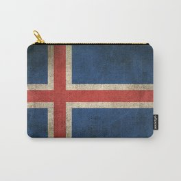 Old and Worn Distressed Vintage Flag of Iceland Carry-All Pouch