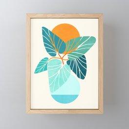 Tropical Symmetry / Retro Aqua Orange Palette Framed Mini Art Print