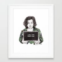 coconutwishes Framed Art Prints featuring Long Hair Don't Care by Coconut Wishes