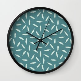 Pillow Fight, Mint on Teal Wall Clock