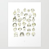 faces Art Prints featuring Faces by Wood + Ink