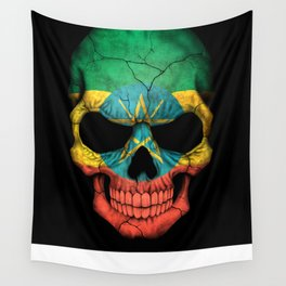 Dark Skull with Flag of Ethiopia Wall Tapestry