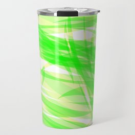 Green and smooth sparkling lines of light green ribbons on the theme of space and abstraction. Travel Mug