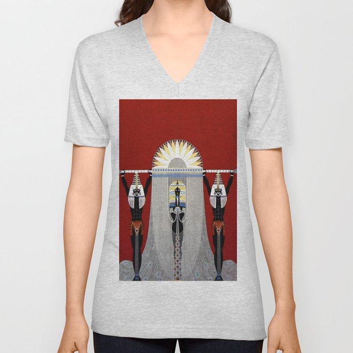 """""""The Egyptian"""" Art Deco Illustration Unisex V-Neck"""