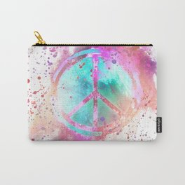 Colorful Painted Peace Symbol Carry-All Pouch