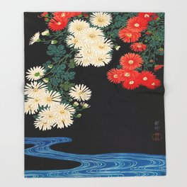 Ohara Koson Chrysanthemums and Running Water 1931 Japanese Woodblock Print Vintage Historical Throw Blanket