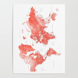 Living coral watercolor world map with cities Poster