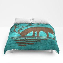Blue Brown Deer Comforters
