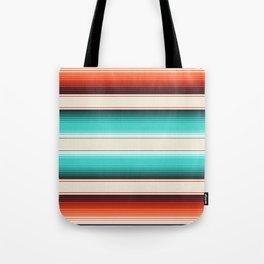 Navajo White, Turquoise and Burnt Orange Southwest Serape Blanket Stripes Tote Bag