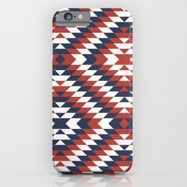 Coastal large Navajo Aztec diamonds diagonal kilim marine blue, red pattern iPhone Case
