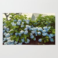 cape cod Area & Throw Rugs featuring Cape Cod Hydrangeas by Joyce Vincent