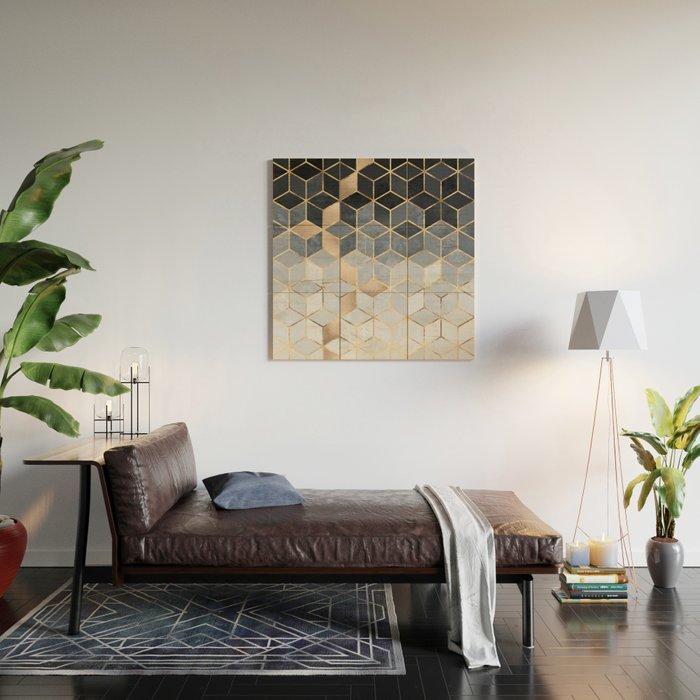 Soft Blue Gradient Cubes Wood Wall Art