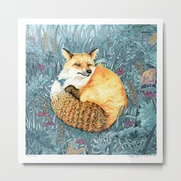 Red Fox Painting in Forest / Mixed Media Watercolor Painting Metal Print