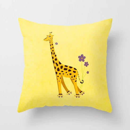 Yellow Funny Roller Skating Giraffe Throw Pillow