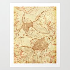 Vintage Goldfishes  Art Print