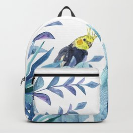 Cockatiel with tropical foliage Backpack