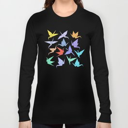Japanese Origami paper cranes symbol of happiness, luck and longevity Long Sleeve T-shirt