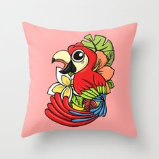 The Pink Pretty Parrot Throw Pillow