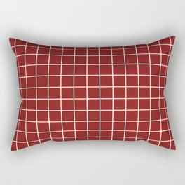 Falu red - red color - White Lines Grid Pattern Rectangular Pillow