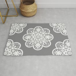 Floral Doily Pattern | Lace Crochet Doilies | Needle Crafts | Grey and White | Rug