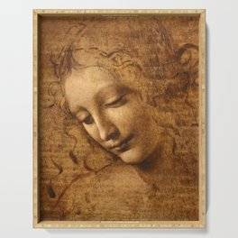 Head of a Woman Painting by Leonardo da Vinci Serving Tray