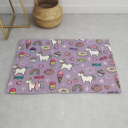 Purple Unicorns & Sweet Daydreams, Little Girls Decor, Bright, Sweets Rug