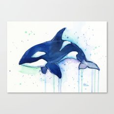 Killer Whale Orca Watercolor Painting Animal Art Canvas Print