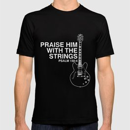 Praise Him Christian Guitar Player Distressed  T-shirt