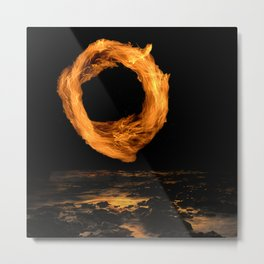 Ring of Fire Above the Beach at Midnight Metal Print