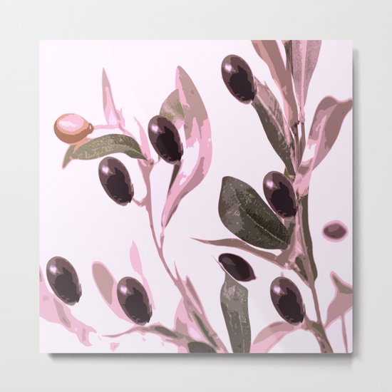 Olive tree branch with pink tones on white background Metal Print