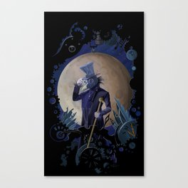 steampunk crow time keeper Canvas Print