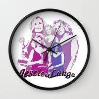 jessica lange Wall Clocks featuring Jessica Lange - Emmys 2014 by BeeJL