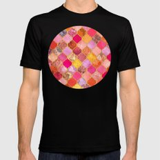 Hot Pink, Gold, Tangerine & Taupe Decorative Moroccan Tile Pattern MEDIUM Mens Fitted Tee Black