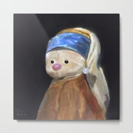 Bunny with Pearl Earring Funny Picture Vintage Portrait Metal Print