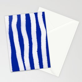 Geometric Classic Blue White Watercolor Stripes Brushstrokes Stationery Cards