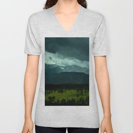 Gloomy Landscape Secret Green Field Unisex V-Neck