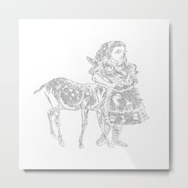 Alice and the Fawn in White Metal Print