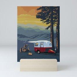 Retro Travel BC Camping Scene Poster Mini Art Print