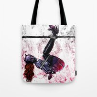 bondage Tote Bags featuring Bondage Catwoman by lucille umali