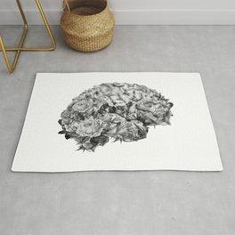 flower brain black and white Rug