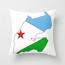 Djibouti Map  with Djiboutian Flag Throw Pillow
